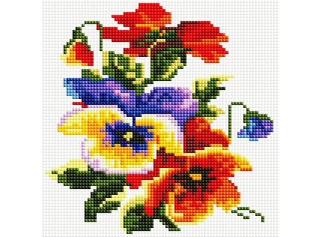 """352-ST-S Алмазная мозаика на подрамнике """"Цветочки"""" (20х20 см)"""