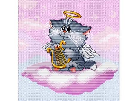 """144-14 Набор для вышивания крестом """"Котёнок-ангелочек"""" (25,5х25,5 см)"""