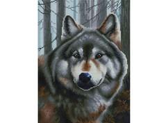 """347-ST-S Алмазная мозаика на подрамнике """"Волк"""" (30х40 см)"""