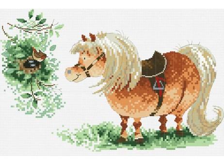 """821-14 Набор для вышивания крестом """"Пони и птичка"""" (14,6х23 см)"""
