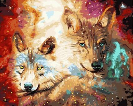 "DAB-34562 Картина по номерам ""Волчий взгляд"" (40х50 см) на холсте"