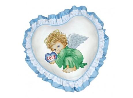 """P-501 Подушка для вышивания """"Милый ангел (рюшка голубая)"""" (45х45 см)"""
