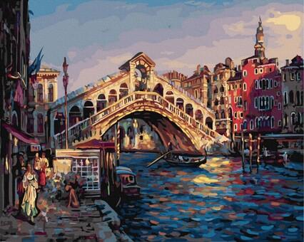 """DAB-23160 Картина по номерам """"Мост Риальто"""" (40х50 см) на холсте"""