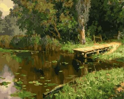 """DAB-33833 Картина по номерам """"Озеро в лесу"""" (40х50 см) на холсте"""