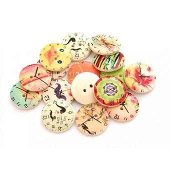 884-DB Пуговицы декоративные Часы 25 шт. 2 см. цветные